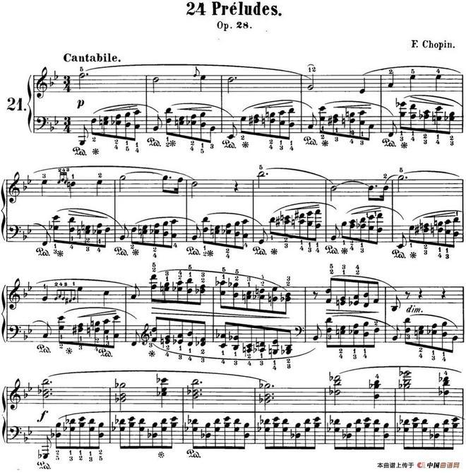 肖邦 24首钢琴前奏曲 Op.28 No.21 降B大调